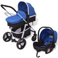 vidaXL trīs-vienā bērnu ratiņi, alumīnijs, zils ar melnu