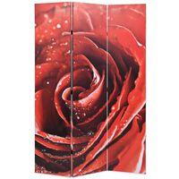 vidaXL istabas aizslietnis, 120x170 cm, saliekams, sarkans ar rozi