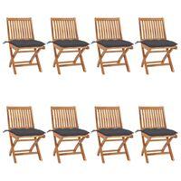 vidaXL saliekami dārza krēsli ar matračiem, 8 gab., masīvs tīkkoks