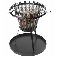 Perel ugunskura grozs ar pelnu trauku, apaļš, melns, BB650