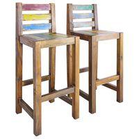 vidaXL bāra krēsli, 2 gab., pārstrādāts masīvkoks
