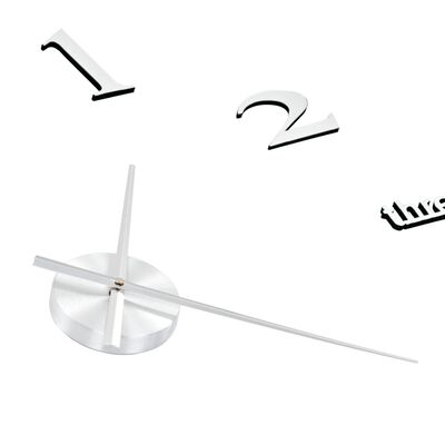 vidaXL 3D sienas pulkstenis, moderns dizains, 100 cm, XXL, sudraba