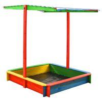 vidaXL smilšu kaste ar regulējamu jumtu, krāsaina, egles koks, UV50
