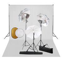 vidaXL fotostudijas komplekts – lampas, lietussargi, fons, reflektori