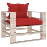 vidaXL dārza palešu dīvāns ar sarkaniem matračiem, priedes koks
