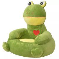vidaXL bērnu atpūtas krēsls, varde, zaļš plīšs