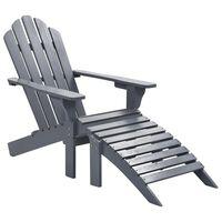 vidaXL dārza krēsls ar kājsoliņu, koks, pelēks