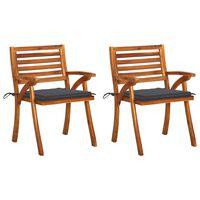 vidaXL dārza krēsli ar matračiem, 2 gab., akācijas masīvkoks