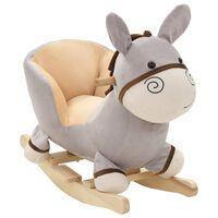 vidaXL rotaļu šūpuļkrēsls ar atzveltni, 60x32x50 cm, ēzelis, pelēks
