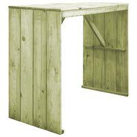 vidaXL bāra galds, 130x60x110 cm, impregnēts priedes koks