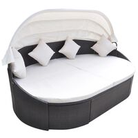 vidaXL dārza atpūtas gulta ar jumtiņu, brūna PE rotangpalma