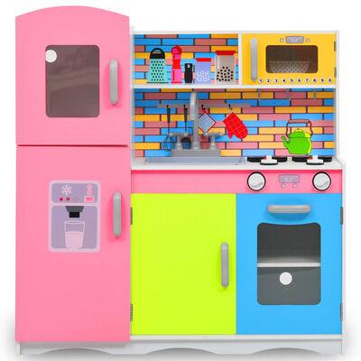 vidaXL bērnu rotaļu virtuve, MDF, 80x30x85 cm, krāsaina