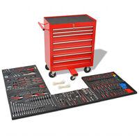 vidaXL instrumentu ratiņi ar 1125 instrumentiem, sarkani, tērauda