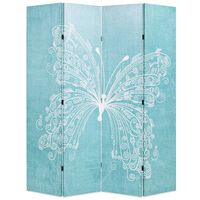 vidaXL istabas aizslietnis, 160x170 cm, saliekams, zils ar tauriņu