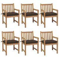 vidaXL dārza krēsli, pelēkbrūni matrači, 6 gab., masīvs tīkkoks