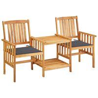 vidaXL dārza krēsli ar matračiem un galdiņu, akācijas masīvkoks
