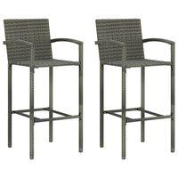 vidaXL bāra krēsli, 2 gab., pelēka PE rotangpalma