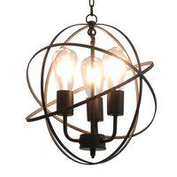 vidaXL griestu lampa, sfēriska, melna, 3 x E27 spuldzes