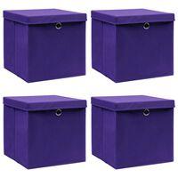 vidaXL uzglabāšanas kastes ar vāku, 4 gab., 32x32x32 cm, violetas