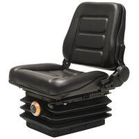 vidaXL traktora sēdeklis ar regulējamu atzveltni, amortizatoru, melns
