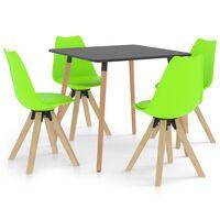 vidaXL 5-daļīgs virtuves mēbeļu komplekts, zaļš