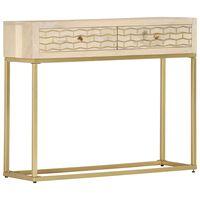 vidaXL konsoles galdiņš, zelta krāsa, 90x30x75 cm, mango masīvkoks