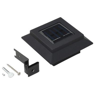 vidaXL āra solārās lampas, 12 gab., 12 cm, LED, kvadrāta forma, melnas