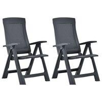 vidaXL atgāžami dārza krēsli, 2 gab., antracītpelēka plastmasa