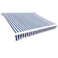 vidaXL markīzes jumts, zils ar baltu, 6 x 3 m, (rāmis nav iekļauts)