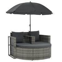 vidaXL divvietīgs dārza dīvāns ar matračiem un saulessargu, pelēks PE