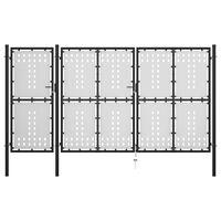 vidaXL dārza vārti, melnā krāsā, 400x175 cm, tērauds