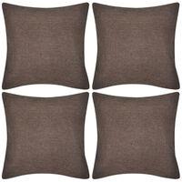Spilvenu pārvalki, 4 gab., 50x50 cm, linam līdzīgs materiāls, brūni