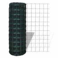 vidaXL Euro stiepļu žogs, tērauds, 10x0,8 m, zaļš