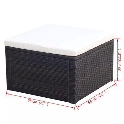 vidaXL kājsoliņš, taburete, 53x53x30 cm, brūna niedru pinuma imitācija