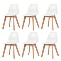 vidaXL virtuves krēsli, 6 gab., balta plastmasa