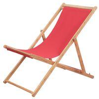 vidaXL salokāms pludmales krēsls, sarkans audums, koka rāmis