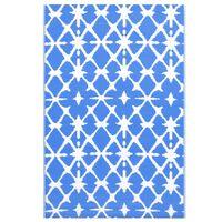 vidaXL āra paklājs, 120x180 cm, zils un balts PP