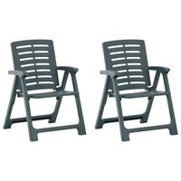 vidaXL dārza krēsli, 2 gab., zaļa plastmasa