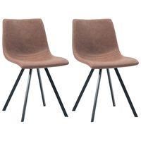 vidaXL virtuves krēsli, 2 gab., brūna mākslīgā āda