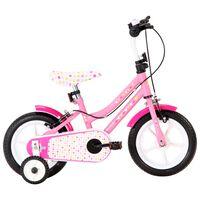 vidaXL bērnu velosipēds, 12 collas, balts ar rozā