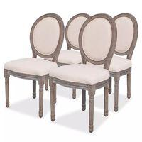 vidaXL virtuves krēsli, 4 gab., krēmkrāsas audums