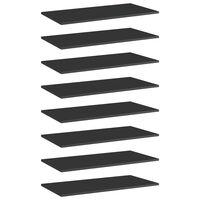 vidaXL plauktu dēļi, 8 gab., spīdīgi melni, 80x40x1,5cm, skaidu plātne