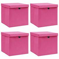 vidaXL uzglabāšanas kastes ar vāku, 4 gab., 32x32x32 cm, rozā audums