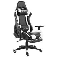 vidaXL datorspēļu krēsls ar kāju balstu, grozāms, balts, PVC