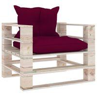 vidaXL dārza palešu dīvāns ar vīnsarkaniem matračiem, priedes koks
