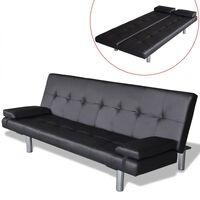 vidaXL izvelkams dīvāns ar 2 spilveniem, regulējams,melna mākslīgā āda