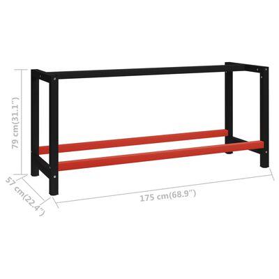 vidaXL darba galda rāmis, metāls, 175x57x79 cm, melns un sarkans