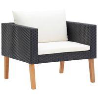 vidaXL dārza dīvāns ar matračiem, vienvietīgs, melns PE pinums