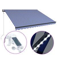 vidaXL markīze ar vēja sensoru un LED, 300x250 cm, zila ar baltu