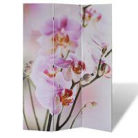 vidaXL istabas aizslietnis, 240x170 cm, saliekams, ziedu apdruka